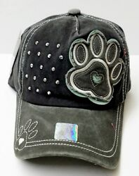 Pitbull Women Vintage PAW Rhinestone Trendy Fashion Baseball Cap Blk Light Gray $12.99