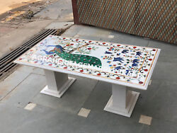Marble Dining Room Table Top With Stand Peacock Inlay Marquetry Stone Decor E434