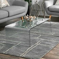 nuLOOM Contemporary Modern Abstract Area Rug in Grey $38.99