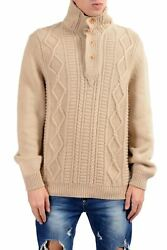 Kiton Napoli Men's 100% Cashmere Beige Cable Knit Pullover Sweater US 2XL IT 56