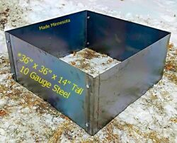 Square Fire Pit - Metal Steel Campfire Ring- 36 x 36 x 14