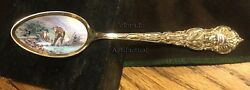 COLORADO MINING: WASHING GOLD antique sterling enamel bowl gold was spoon 1903
