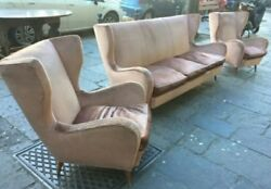 Set Mid century Pair lounge chairs Sofa by PAOLO Buffa Hotel Bristol italy 50s