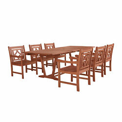 Malibu Outdoor 7-piece Wood Patio Extendable Table Dining Set(V232SET41)
