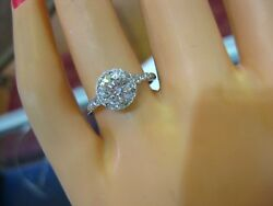 BANKRUPTCY 72% OFF 1.15CT HALO ENGAGEMENT RING LOW SET 14K WHITE GOLD