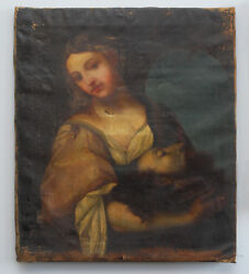 LARGE 18th CENTURY OIL CANVAS PAINTING JUDITH BEHEADING HOLOFERNES AFTER TITIAN