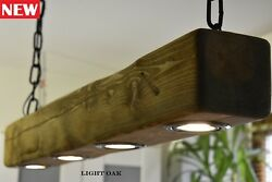 Ceiling Light Vintage Rustic Lamp 4 X LED *HANDMADE* Light Oak GBP 139.00