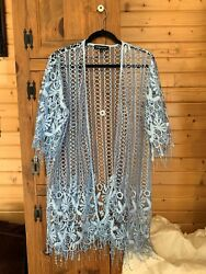 Spiaggia dolce Light Blue Crochet Open Cardigan Large NWOT