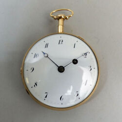 ANTIQUE FRENCH 18 K GOLD QUARTER REPEATER POCKET WATCH IN G.W.O. - C.1820
