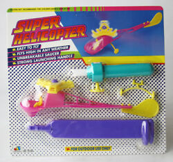 VINTAGE 90#x27;S SUPER FLYING HELICOPTER OUTDOOR WIND UP LAUNCHER NEW SEALED $19.99