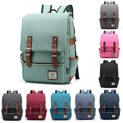 US Unisex Canvas Backpack School Travel Rucksack Laptop Satchel Shoulder Bag
