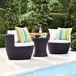 3 Piece White Cushion Resin Wicker Round Bistro Set Outdoor Furniture Garden