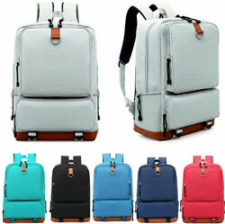 Women's Canvas Backpack School Travel Rucksack Laptop Satchel Shoulder Bag