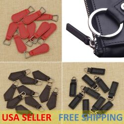 1-5 Pcs PU Leather Zipper Tags Fixer Pull Tab Replacement DIY Wallet Purse Bag