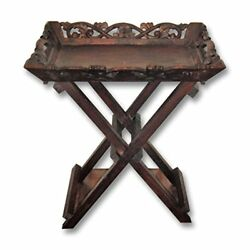 Pinks Boutique Carved Butler Tray Side Table Bedside Lamp Stand