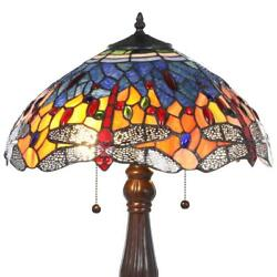 tiffany red dragonfly 25 in. bronze table lamp glass stained light style shade $167.99