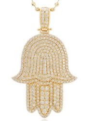 6.39CT NATURAL ROUND DIAMOND 14K SOLID YELLOW GOLD  PENDANT