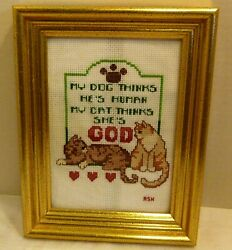 Embroidered Gold Framed Art