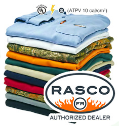 NEW-Rasco FR Flame Resistant Long Sleeve Henley T-Shirt - Same Day Fast Shipping