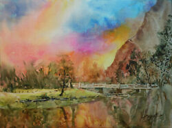 Contemporary Art Original Painting by American Artist M.Hee Landscape $140.00