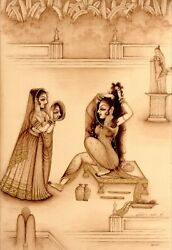 Goddess Radha getting ready She is Looking in The Mirror Religious Art Painting