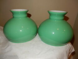 PR. KEROSENE OIL PARLOR APPLE GREEN STUDENT LAMP SHADES 4 CAST STUDENT LAMP $585.00