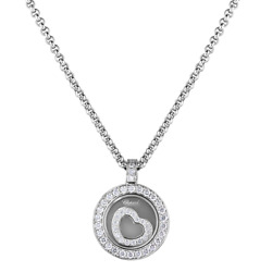 Brand New Authentic Chopard Happy Spirit Heart Pendant 18K White Gold Diamonds