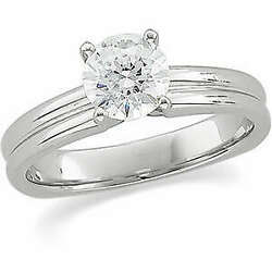 Round Diamond Solitaire Engagement Ring 14k White Gold 1 Ct (G-H  SI )