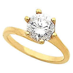 Round Diamond Solitaire Engagement Ring 14k Yellow Gold 1 Ct (D-E  SI )