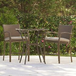 3 Piece Brown Resin Wicker High Bistro Patio Set Outdoor Home Furniture Garden