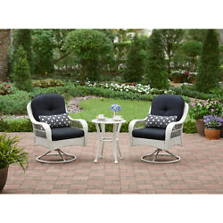 3 Pieces Woven Bistro Set Backrest Chair Seat Coffee Tea Garden Table Patio Home