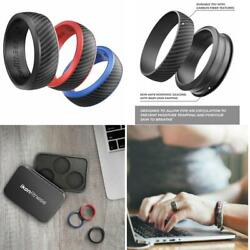 3 Pack Silicone Wedding Ring for Men Women with Carbon Fiber Textures + Gift Box
