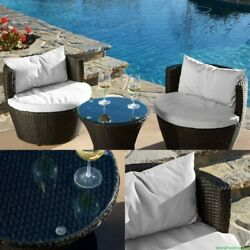 Modern Wicker Bistro Set 3 PCs Patio Garden Outdoor Furniture Chat Chairs Table