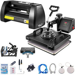 5in1 Heat Press 15x12 14 Vinyl Cutter Plotter Sticker Print Printer 3 Blades $404.29