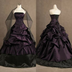 Plus Gothic Wedding Dress Vintage Strapless Bridal Gown Ruffles Black and Purple
