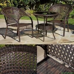 Outdoor Dining Bistro Set 3 PC Stylish Wicker Patio Garden Furniture Club Chairs