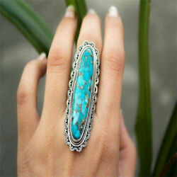 Vintage Retro Large Green Turquoise Gemstone Ring Band Indian Jewelry Rings Gift