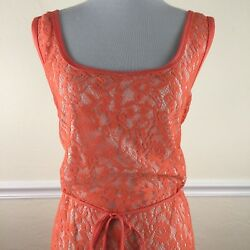 Aditi Infinity Summer Plus 20 3X Maxi Dress Floral Lace Overlay Lined Orange New $21.24