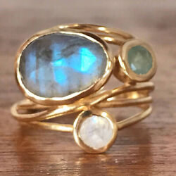 Jewelry Women Boho Moonstone Ring Oval 14K Gold Pleated Natural Gemstone Gifts