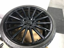 Vossen VFS2 Gloss Black Wheels 21x9  21x11 5x112mm w Michelin Tires - LIKE NEW