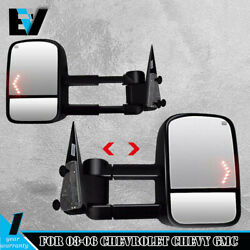 Tow Mirror Power Heated Signal Black Pair Set for GM Pickup SUV New