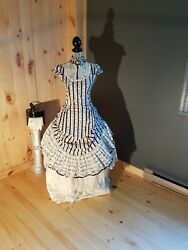 womens dress lip service step in time long gown. back and white with lace. small