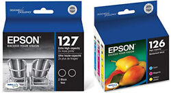 Epson 545 INK - 2 - 127 XL T12720 Ultra Extra High Capacity & 1 - 126 T126 Color $115.00