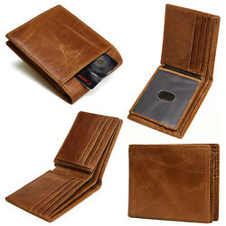 Men#x27;s RFID Blocking Full Grain Leather ID Window Multi Currency Bifold Wallet $15.96