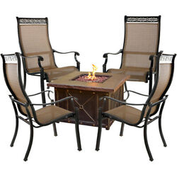 Monaco 5-Piece Fire Pit Chat Set with 4 Sling Dining Chairs and a 40000 BTU ...