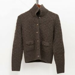Loro Piana Women's Cashmere Cardigan Thick Knit Sweater Size 42 Brown w Leather