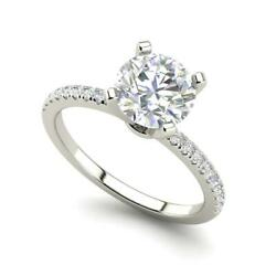 Micropave 2.25 Carat VVS2F Round Cut Diamond Engagement Ring White Gold