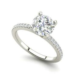 French Pave 2.25 Carat VVS2F Round Cut Diamond Engagement Ring White Gold
