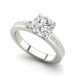 Channel Set 3.45 Carat VS1F Round Cut Diamond Engagement Ring White Gold