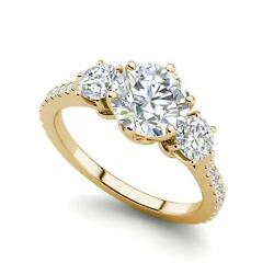 Pave 3 Stone 3.75 Carat VS1H Round Cut Diamond Engagement Ring Yellow Gold